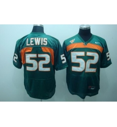 Hurricanes #52 Ray Lewis Green Stitched NCAA Jerseys