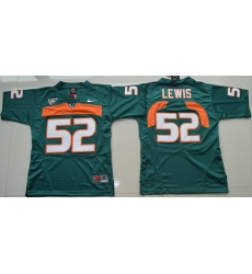 Hurricanes #52 Ray Lewis Green Stitched Youth NCAA Jersey