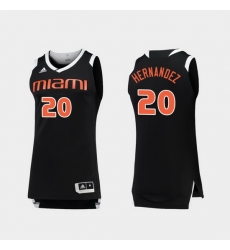 Men Miami Hurricanes Dewan Hernandez Black White Chase College Basketball Jersey