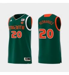 Men Miami Hurricanes Dewan Hernandez Green Replica College Basketball Jersey