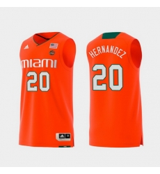 Men Miami Hurricanes Dewan Hernandez Orange Replica College Basketball Jersey