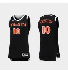 Men Miami Hurricanes Dominic Proctor Black White Chase College Basketball Jersey