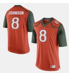 Men Miami Hurricanes Duke Johnson College Football Orange Jersey