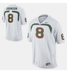 Men Miami Hurricanes Duke Johnson College Football White Jersey