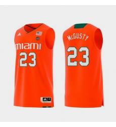 Men Miami Hurricanes Kameron Mcgusty Orange Replica College Basketball Jersey