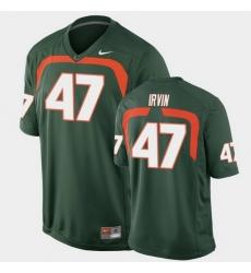 Men Miami Hurricanes Michael Irvin Game Green College Football Jersey