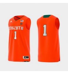Men Miami Hurricanes Orange Basketball Swingman Adidas Replica Jersey