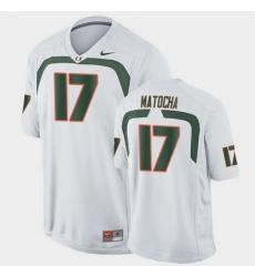 Men Miami Hurricanes Peyton Matocha Game White College Football Jersey