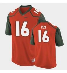 Men Miami Hurricanes Ryan Rizk Replica Orange College Football Jersey