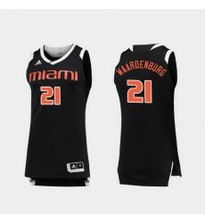 Men Miami Hurricanes Sam Waardenburg Black White Chase College Basketball Jersey
