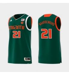 Men Miami Hurricanes Sam Waardenburg Green Replica College Basketball Jersey