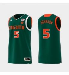 Men Miami Hurricanes Zach Johnson Green Replica College Basketball Jersey
