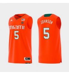 Men Miami Hurricanes Zach Johnson Orange Replica College Basketball Jersey