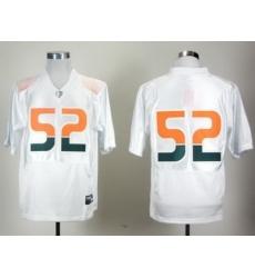 NCAA Miami Hurricanes 52# Ray Lewis White Pro Combat College Football Jersey