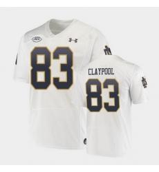 Men Notre Dame Fighting Irish Chase Claypool Replica White College Football Playoff Jersey