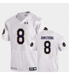 Men Notre Dame Fighting Irish Jafar Armstrong 8 White College Football Replica Jersey