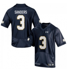 Men Under Armour 3 Replica Navy Blue C.J. Sanders Notre Dame Fighting Irish Alumni Football Jersey