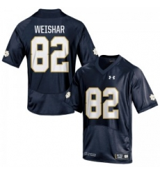 Men Under Armour 82 Replica Navy Blue Nic Weishar Notre Dame Fighting Irish Alumni Football Jersey