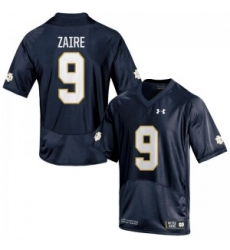 Men Under Armour 9 Replica Navy Blue Malik Zaire Notre Dame Fighting Irish Alumni Football Jersey