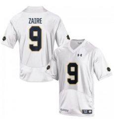 Men Under Armour 9 Replica White Malik Zaire Notre Dame Fighting Irish Alumni Football Jersey