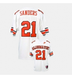 Men Oklahoma State Cowboys And Cowgirls Barry Sanders College Football White Jersey