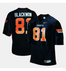 Men Oklahoma State Cowboys And Cowgirls Justin Blackmon College Football Black Jersey