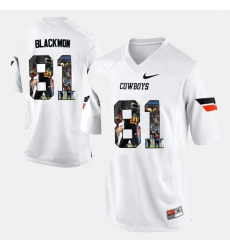 Men Oklahoma State Cowboys And Cowgirls Justin Blackmon Player Pictorial White Jersey