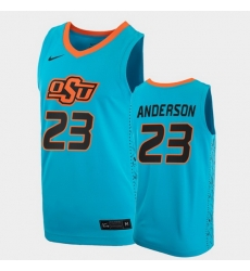 Men Oklahoma State Cowboys James Anderson College Basketball Blue Jersey