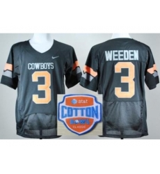 Oklahoma State Cowboys 3 Brandon Weeden Black Pro Combat College Football NCAA Jerseys 2014 AT & T Cotton Bowl Game Patch