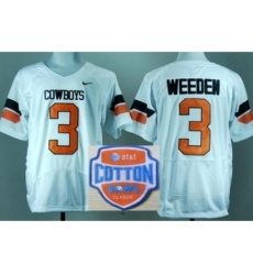 Oklahoma State Cowboys 3 Brandon Weeden White Pro Combat College Football NCAA Jerseys 2014 AT & T Cotton Bowl Game Patch