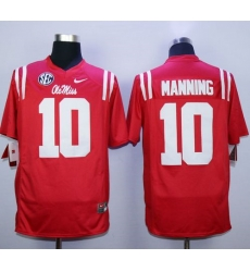 Durable Rebels #10 Eli Manning Red Stitched NCAA Jersey