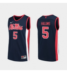Men Ole Miss Rebels Brian Halums Navy Replica College Basketball Jersey
