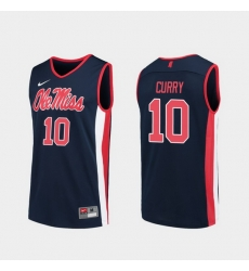 Men Ole Miss Rebels Carlos Curry Navy Replica College Basketball Jersey