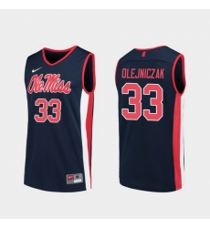 Men Ole Miss Rebels Dominik Olejniczak Navy Replica College Basketball Jersey