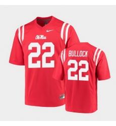 Men Ole Miss Rebels Kentrel Bullock College Football Red Game Jersey