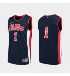 Men Ole Miss Rebels Navy Replica College Basketball Jersey