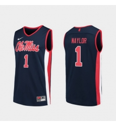 Men Ole Miss Rebels Zach Naylor Navy Replica College Basketball Jersey