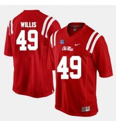 Men Patrick Willis Red Ole Miss Rebels Alumni Football Game Jersey