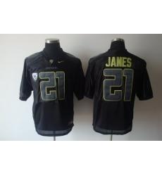 Ducks #21 LaMichael James Black Embroidered NCAA Jersey