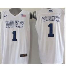 Duke Blue Devils #1 Jabari Parker White Basketball Elite Stitched NCAA Jersey