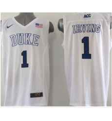 Duke Blue Devils #1 Kyrie Irving White Basketball Elite Stitched NCAA Jersey