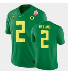 Men Oregon Ducks Devon Williams 2021 Fiesta Bowl Green Game Jersey 0A