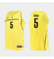 Men Oregon Ducks Miles Norris Yellow Authentic College Basketball Jersey