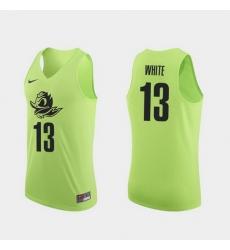 Men Oregon Ducks Paul White Apple Green Authentic College Basketball Jersey 0A