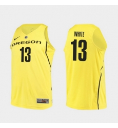 Men Oregon Ducks Paul White Yellow Authentic College Basketball Jersey
