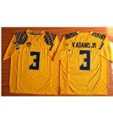 Oregon Ducks #3 Vernon Adams Jr. Olive Yellow Stitched NCAA Jersey