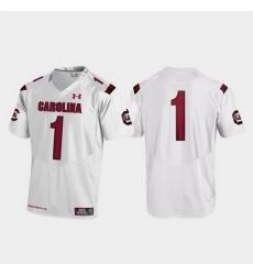 Men South Carolina Gamecocks 1 White Replica College Football Jersey