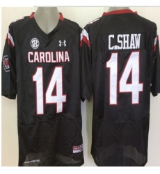 South Carolina Fighting Gamecocks #14 Connor Shaw Black SEC Patch Stitched NCAA Jersey II