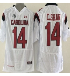 South Carolina Fighting Gamecocks #14 Connor Shaw White SEC Patch Stitched NCAA Jersey