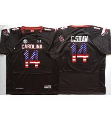 South Carolina Gamecocks 14 C Shaw Black USA Flag College Jersey